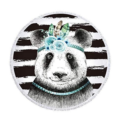 Pandas de secado rápido Manta redonda de toalla de baño de viaje para la playa Cute Pet Pandas Roundie Tapiz Cubierta de bikini de playa Cojines de yoga al aire libre Estera Tiro de cama 59 pulgadas