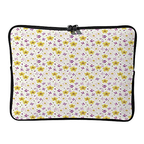 AmaUncle Pressed and Dried Flowers Pattern Laptop Sleeve Case Neoprene Carrying Bag for Any Tablet/Notebook SW14070 17 inch/17.3 inch