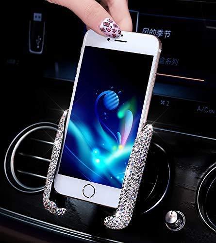 Best Bling Rhinestone Crystal Convenient Mini Car Dash Air Vent Automatic ADJUSTABLE Phone Holder (Silver)