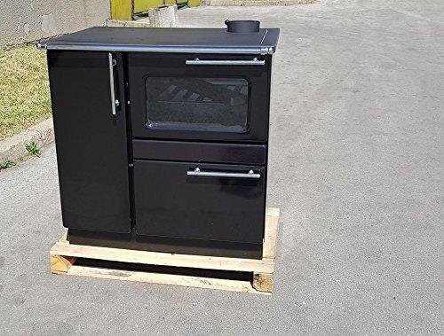 Estufa de cocina de leña estufa horno 9/15 kw PLAMAK esmalte negro