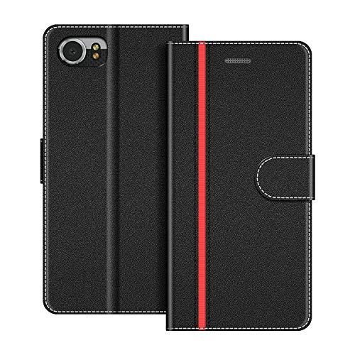 COODIO Handyhülle für BlackBerry KEYone Handy Hülle, BlackBerry KEYone Hülle Leder Handytasche für BlackBerry KEYone Klapphülle Tasche, Schwarz/Rot