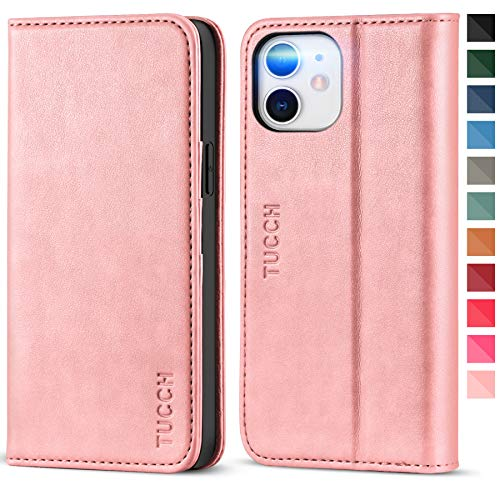 TUCCH iPhone 12 Pro Wallet Case, iPhone 12 Case, PU Leather Folio [Kickstand] [Card Slot] Flip Notebook Cover [Protective TPU Interior Case] Compatible with iPhone 12/iPhone 12 Pro 6.1-inch, Rose Gold