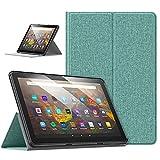 moko custodia compatibile con nuovo kindle fire hd 10 & 10 plus tablet (11a generazione, 2021 versione), custodia per tablet, case antiscivolo multi angoli, case auto avvio/arresto, verde