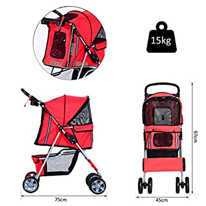 PawHut Pet Stroller Cat Dog Basket Zipper Entry Fold Cup Holder Carrier Cart Wheels Travel Red 5