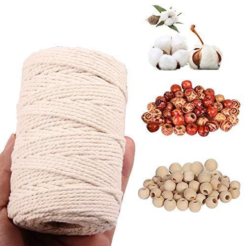 MAEKIJOY Macrame Yarn 3 mm x 200 m Cotton Yarn Natural Cotton Cord for DIY Crafts Crafts Wall Hanging Plant Hanger with 100 Pieces Round Wooden Beads Set, Beige