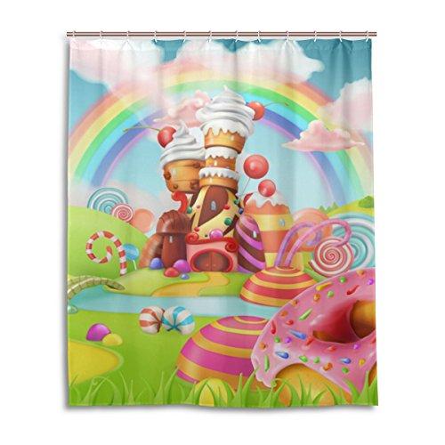 MyDaily Sweet Candy Land Cartoon Duschvorhang 152,4 x 182,9 cm, schimmelresistent und wasserdichte Polyester-Dekoration Badezimmer Vorhang