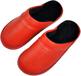 Mdsgfc Hommes PU Cuir Pantoufles Couple intérieur antidérapant Hommes Femmes Maison Chaussures décontractées PVC Semelles ...