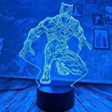 Boutiquespace New Cool Marvel Black Panther Touch 3D LED Lamp Night Light 7 Gradient USB Boys Kid Light Bedroom Lamp Christmas Decor Gifts