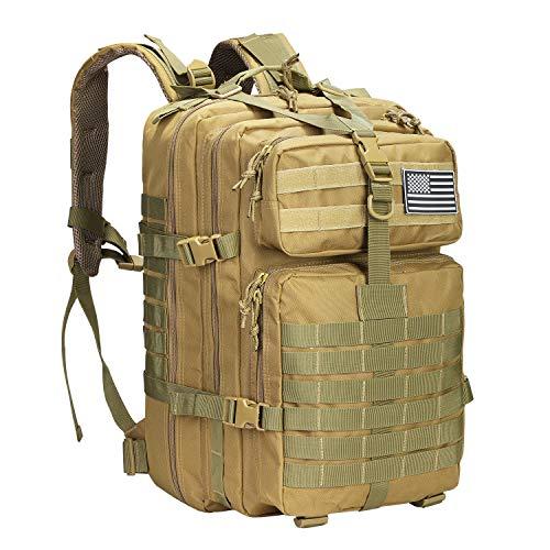 PROSPO 40L Militärischer Taktischer Rucksack Molle Umhängetasche Rucksack Assault Pack Tagesrucksack für Camping Trekking Jagd Angeln (Khaki)
