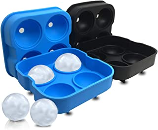 2 Packs of 4-Cavity Ice Ball Mold, SourceTon Black and Blue Flexible Silicone Ice Sphere Tray, Reusable Ice Ball Maker for...