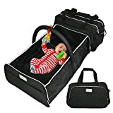 Bubbly Bambina Diaper Bag Backpack – Portable 3 in 1 Diaper Bag – Baby Bag with Changing Station - Stylish and Practical Baby Crib, Foldable Bed, Travel Bag – Multiple Convenient Pockets