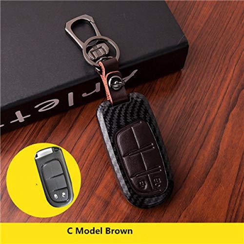 WDNMDQZ Schlüsseletui passend für FIAT Dodge Charger Durango Dart Challenger Chrysler 300C Grand Cherokee Kompass, C Modell Braun