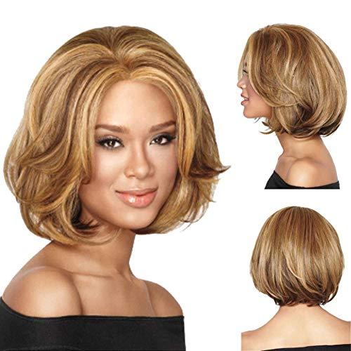 GJJSZ Femmes Supernatural Light Gold Perruque de Longueur Moyenne Bobo Head Bob Style Curly Wavy Synthetic Resistant Heat Like Like Real Hair Attracti