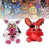 Peluches FNAF, Five Nights at Freddy'S Plush | 7 'Foxy | Peluches de Animales, Regalo para los fanáticos de FNAF (Funtime Foxy + Foxy Rojo)