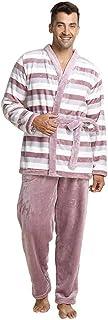 HX fashion Men's Pajama Set Long Sleeve V-Neck Striped Pajamas Winter Classic Warm Thicken Coral Fleece Pajamas Pajama Pan...