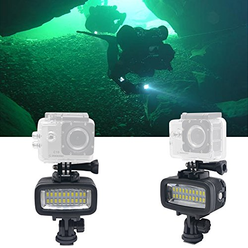 Mcoplus 40m/130ft Rechargeable Diving Light Dimmable Waterproof Video LED Light 6W 20 LEDs 700LM with 1900mAh for Gopro HTC XIAOYI SJ5000 SJ6000 & Other Action Camera &DSLR Camera