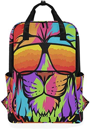 Coole Rainbow King Lion Rucksack Bookbag für Schuljungen Mädchen Laptoptasche Reise Umhängetaschen Frauen Männer