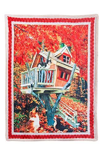 GoldenHome Plaid Stampa Digitale con Retro AGNELLATO 130 x 160 cm - Fantasie Natalizie - Idea Regalo Natale - Coperta Letto Divano
