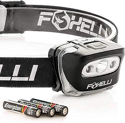 Foxelli Headlamp Flashlight - Bright 165 Lumen White Cree Led + Red Light, Perfect for Runners, Lightweight, Waterproof, Adjustable Headband, 3 AAA Batteries Incl.