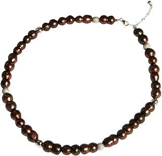 Gemshine–Collana in argento Sterling placcato oro 18K o barocco perle coltivate. Tahiti marrone bordeaux. Hand made in ...