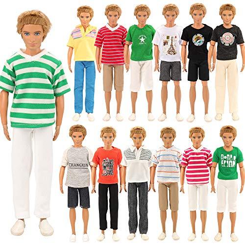 Miunana 6 Kleidung = 3 T-Shirt + 3 Beach Sport Hose für KEN Puppen