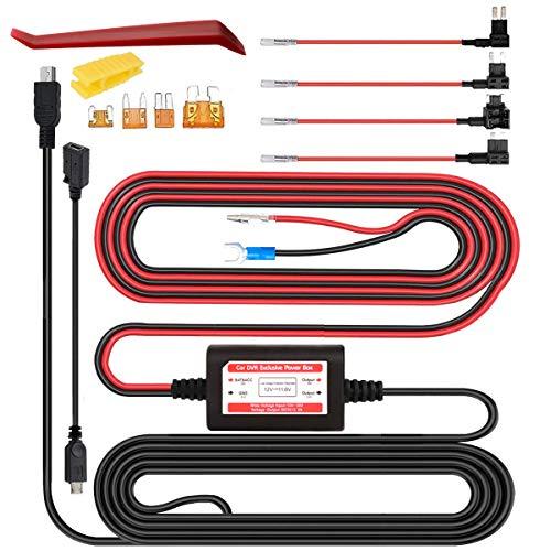 Gebildet Dash CAM Hardwire Kit, Mini Micro USB 12V-24V a 5V, Protección de Bajo Voltaje ACU/ACS/ACN Mini/ACZ Micro 2 Agregar un Circuito Portafusibles Compatible GPS, Detector de Radar