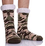 SDBING Mens Super Soft Warm Cozy Fuzzy Fluffy Thick Heavy Fleece-lined Winter Christmas gift With Grips Slipper socks (Camouflage-Light Green)