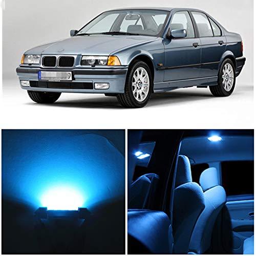 WLJH Lot de 15 ampoules LED bleues glaciales super lumineuses 2835 Canbus sans erreur pour éclairage intérieur de voiture Série 3 E36 M3 318i 318is 318ti 323i 323is 328i 325i