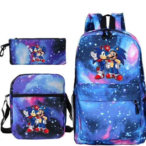 Mochila de Super Mario, Sonic The Hedgehog, mochila escolar con dibujos animados, regalos para niños, cómoda y duradera, Estrella azul., 42×29×16cm, Bolso estanco