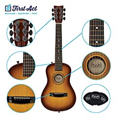 Great feel and accurate tuning Low string height means easier playing for little fingers Comfortable medium size neck and Body Great tone, comfort and playability Chord cards get kids playing right away Frustration-Free Packaging: This item ships in ...