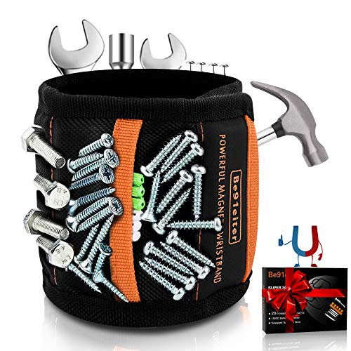[2020 Version] Be91eiter Magnetic Wristband with 20 Pcs Super Strong Magnets for Holding Screws, Nails, Drill Bits - Best Gifts for Men, Unique Men's Tools And Gadgets