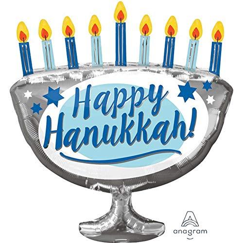 Anagram 29' Happy Hanukkah Menorah Foil Balloon, Multicolor