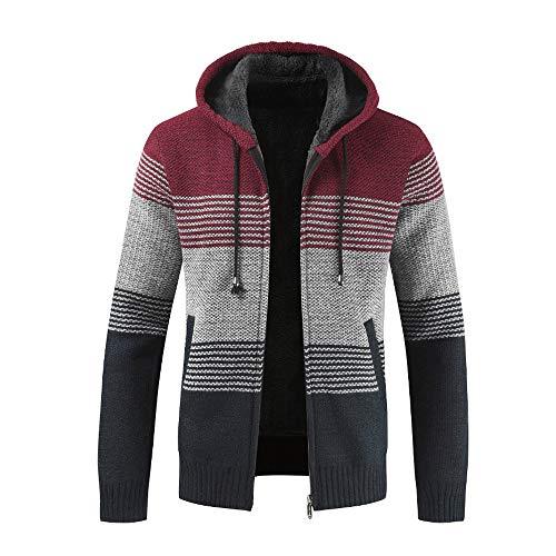 KPILP Strickjacke Herren Pullover Bluse gestreiften Windbreaker dicken Reißverschluss warmen Hoodie Outwear Oberteile Mäntel Winter Herbst(Rot, 3XL