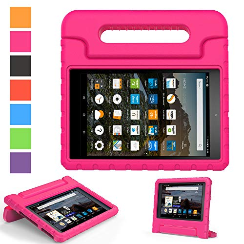 2019 Fire 7 inch case- Kids Shock Proof Convertible Handle Light Weight Super Protective Stand Cover for Amazon Fire Tablet (7' Display -Universal 2015 Fire 7 inch)(2017 2015 Fire 7', Rose)