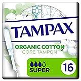 Tampax Cotton Protection Super con aplicador 16X, tampones de algodón orgánico de Tampax