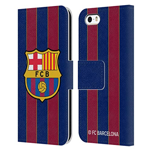 Head Case Designs Oficial FC Barcelona Casa 2020/21 Kit de Cresta Carcasa de Cuero Tipo Libro Compatible con Apple iPhone 5 / iPhone 5s / iPhone SE 2016