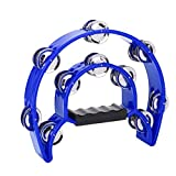 Jadeshay Pandereta - Percusión Musical Pandereta Cutaway Half Blossom Double Row Jingles Handbell Instrument(Azul)