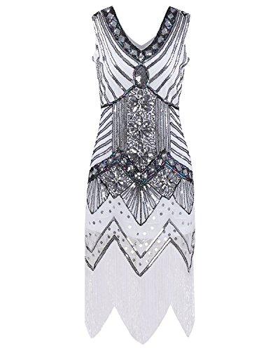 IyMoo Gatsby elegantes Flapper-Kleid für Damen im Stil der 1920er-Jahre, Vintage, mit Pailletten, Fransen, Perlen, Art déco, Kostüm für Partys und Bälle Gr. L, weiß
