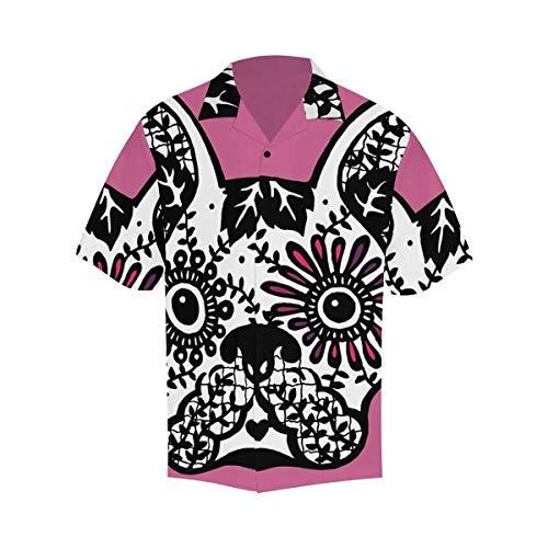 InterestPrint Men's Casual Button Down Short Sleeve Hawaiian Shirt French Bulldog Sugar Skull XXXXXL