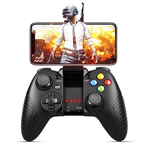 Controlador de Juegos Inalámbrico Achort Gamepad Inalámbrico Recargable USB Agarre Cómodo Joypad Remoto Soporte de Ahorro de Energía Conexión Directa con Soporte Telescópico para iOS y Android PC