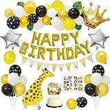 Decoraciones fiestas cumpleaños, globos de jirafa caminando, pancarta dorada de feliz cumpleaños, globos de lunares blancos amarillos negros, pegatinas de animales, adorno de pastel de animales