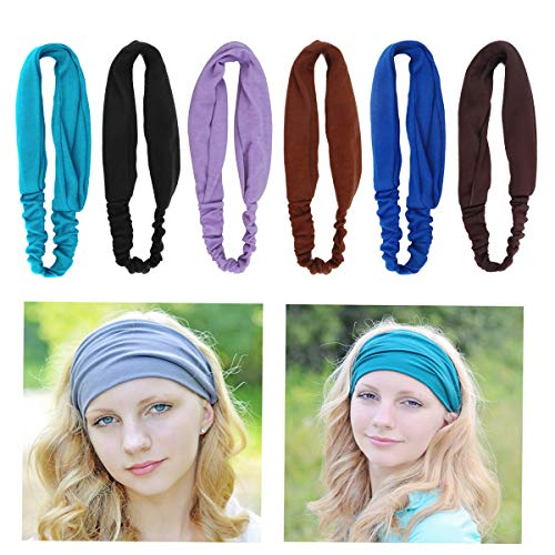 qiyana 6 pcs Boho Headbands for Women, Button Headbands Twisted Criss Cross Head Wrap Elastic Hair Band for Nurses Doctors Women(8 Colors)