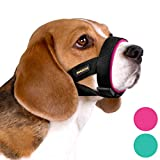 BRONZEDOG Soft Padded Dog Muzzle Adjustable Neoprene Comfort Bitting Chewing Pet Muzzles for Small Medium Large Dogs Puppy (Large, Snout Strap 9'-12', Pink)