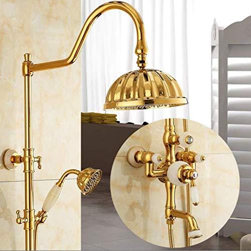 Zixin Cascada grifos de latón bañera y Ducha Grifo y la Pared acabada de Jade de Oro montados Ducha Conjunto Grifo con grifos de Ducha de Lluvia