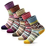 MORECOO Women's Winter Socks 5 Pairs Free Size Thick Wool Soft Warm Casual Crew Socks for Women Socks Gifts