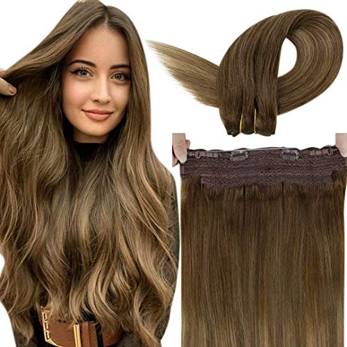 Brown Halo Hair Extensions LaaVoo Halo Wire Extensions Human Hair Balayage Medium Brown to Light Brown with Golden Blonde Secret Halo Brown Hair Extensions Remy One Piece 80g 12'