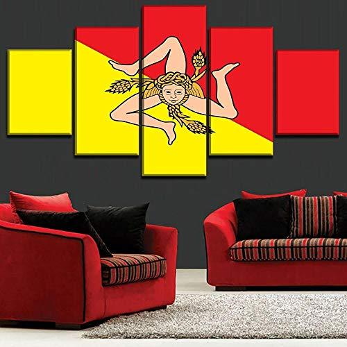 ERSHA Lienzo Moderno, Imagen artística para Pared, Carteles Impresos en HD, decoración para el hogar, Sala de Estar, 5 Piezas, Pintura de la Bandera de Sicilia, Marco Modular