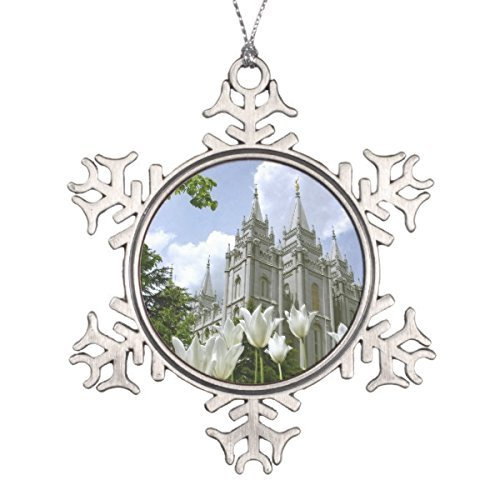 None-brands Christmas Salt Lake City, LDS Temple Snowflake Christmas Ornament Xmas Tree Baubles Hanging Pendants for Christmas Decorations