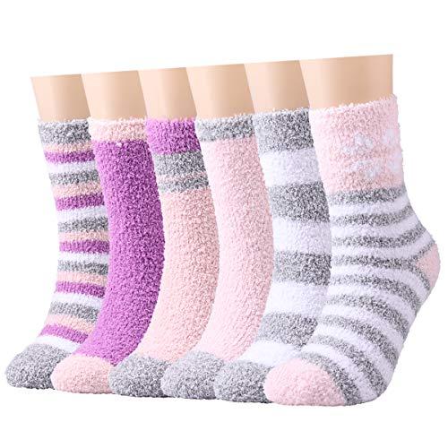 Warme flauschige Socken für Damen / Mädchen, 6 Paar, für den Winter, gemütlich, super weich