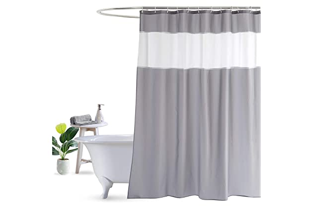 UFRIDAY Shower Curtain Grey And White 72 X Inch Fabric Mildew Resistant Waterproof